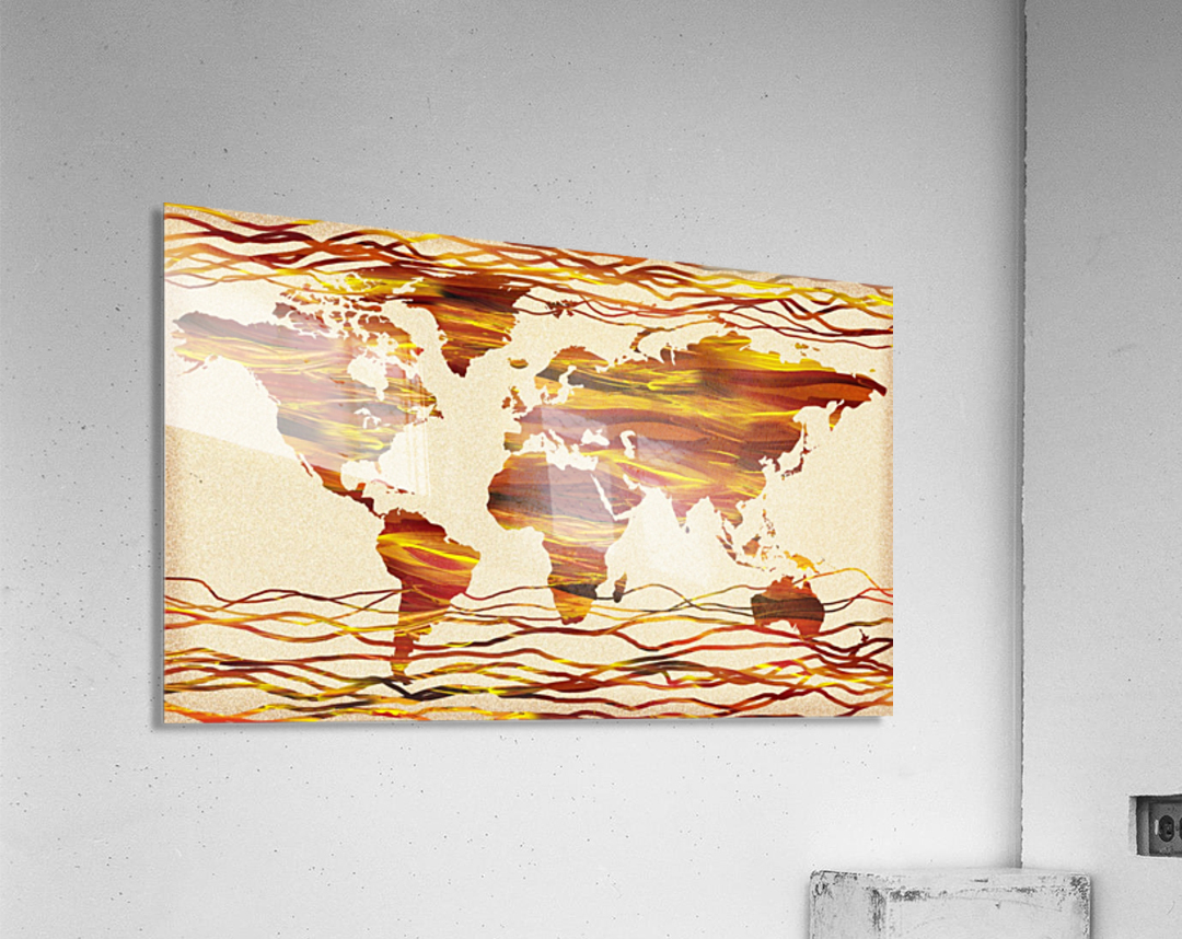 Watercolor Silhouette World Map Brown Beige Waves   Acrylic Print