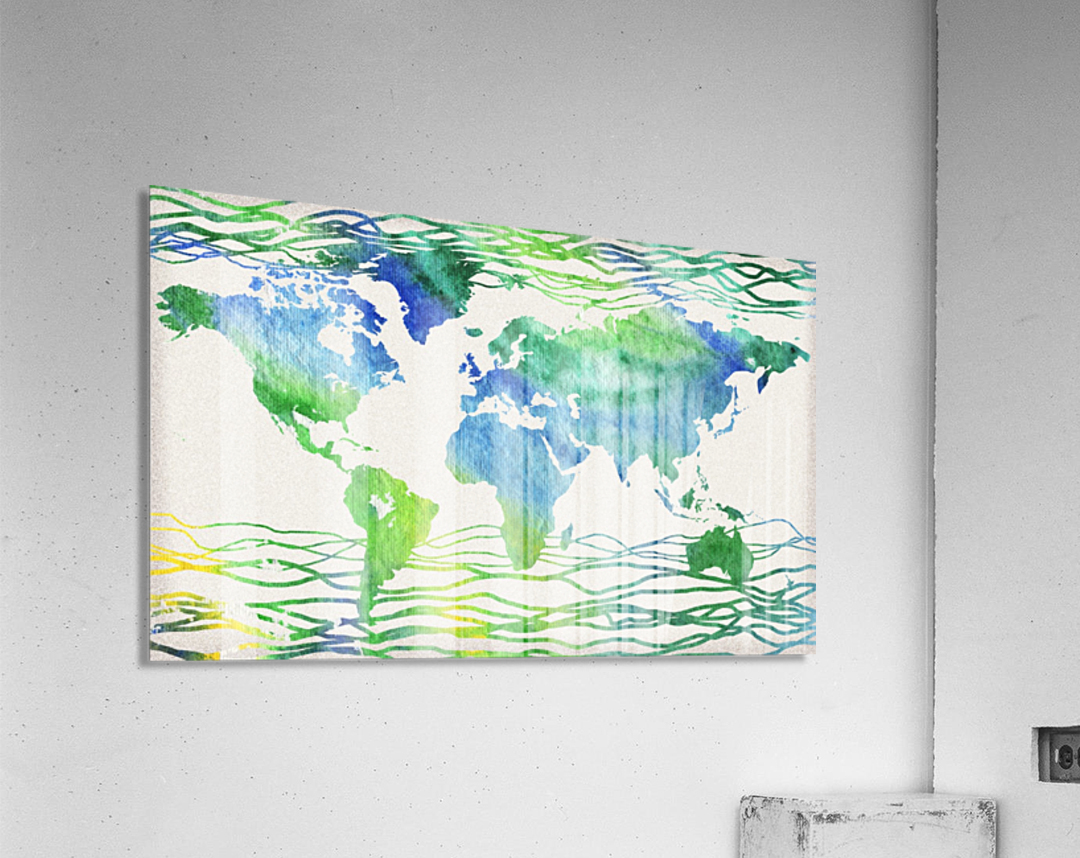 Watercolor Silhouette World Map Blue Green Wave   Acrylic Print
