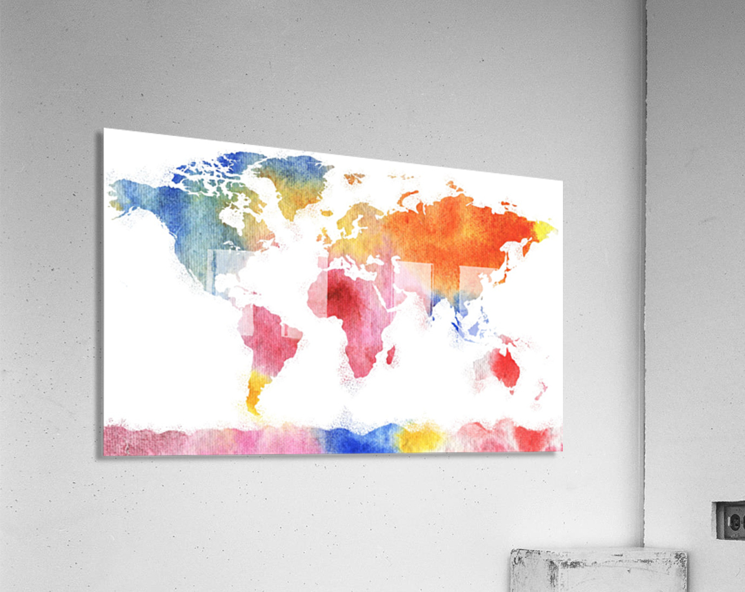 Watercolor Silhouette World Map Rainbow Sea  Acrylic Print