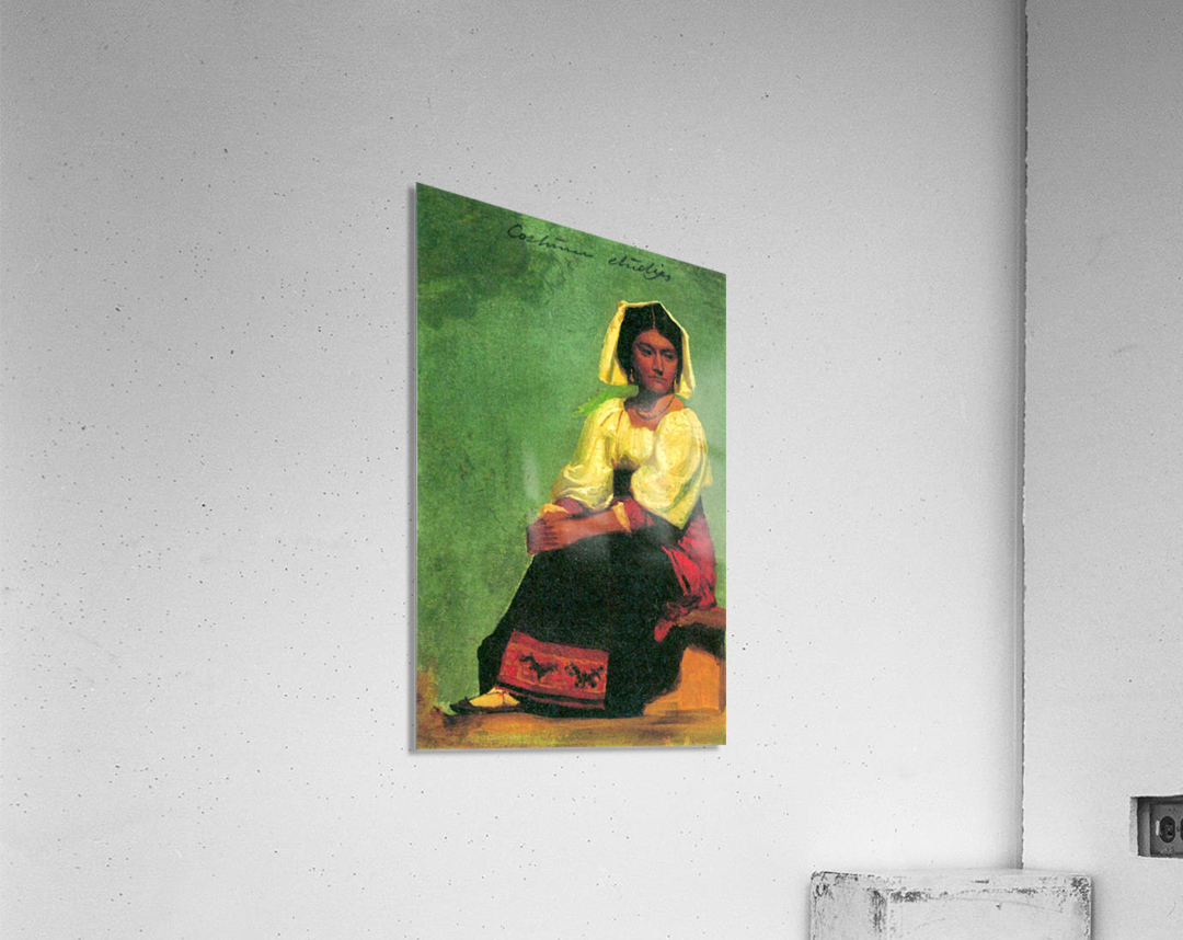 Costume study of a seated woman by Bierstadt  Acrylic Print
