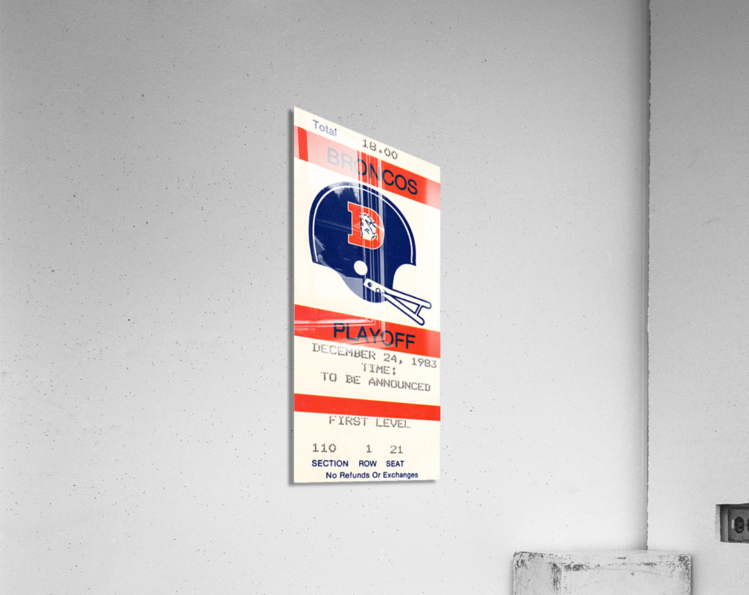 1983 Denver Broncos Football Ticket Stub   Acrylic Print