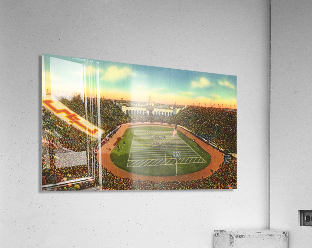 Vintage Los Angeles Coliseum USC Trojans Football Art  Acrylic Print