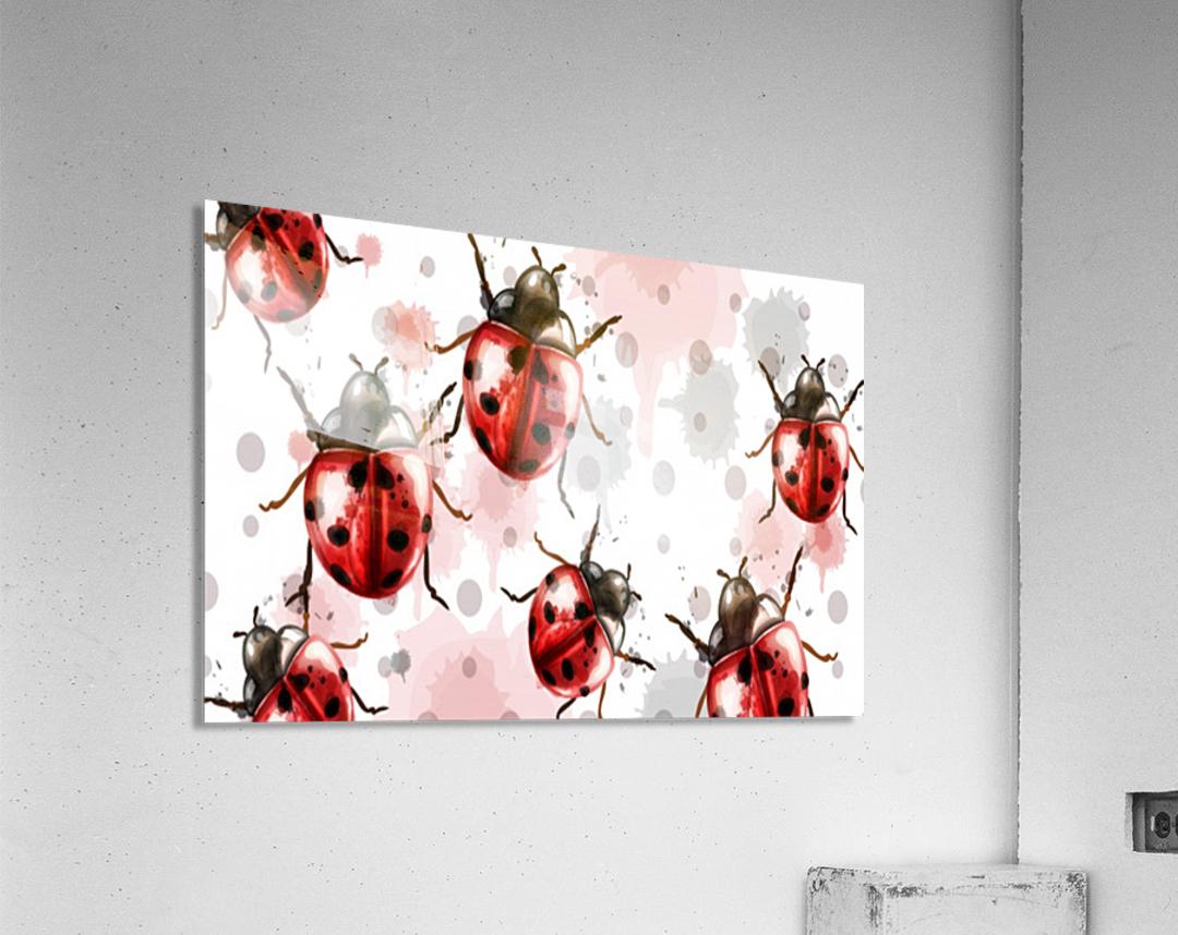 ladybugs pattern texture watercolor_  Acrylic Print