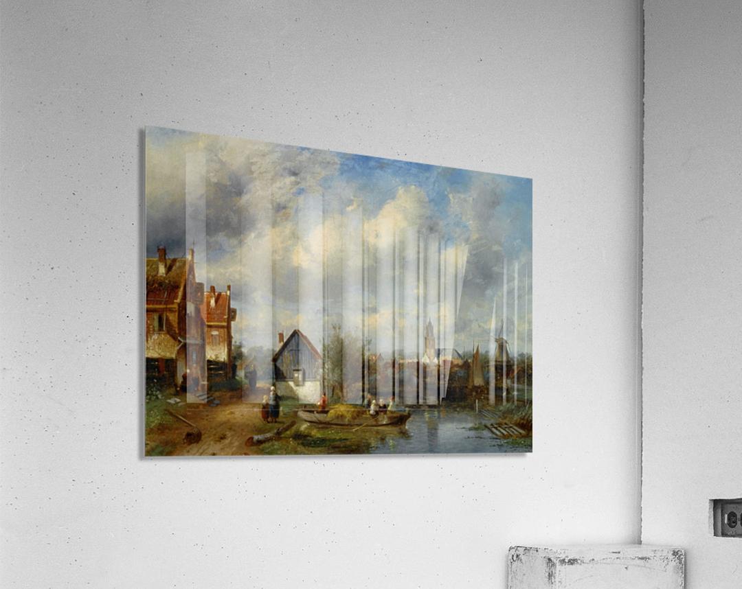 Figures on a Barge Near a Winterside Village  Acrylic Print