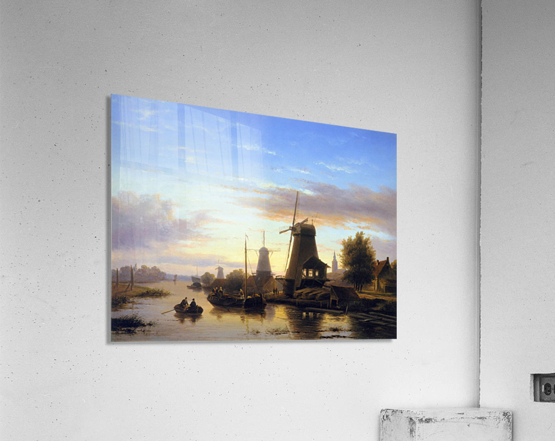Mills at the Schie at dusk Sun  Acrylic Print