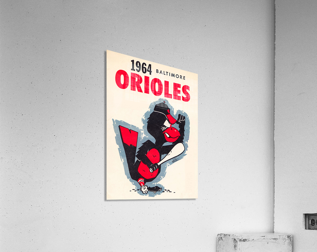 1964 baltimore orioles vintage baseball art poster  Acrylic Print