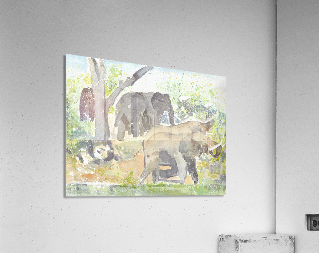 African Elephants 1  Acrylic Print