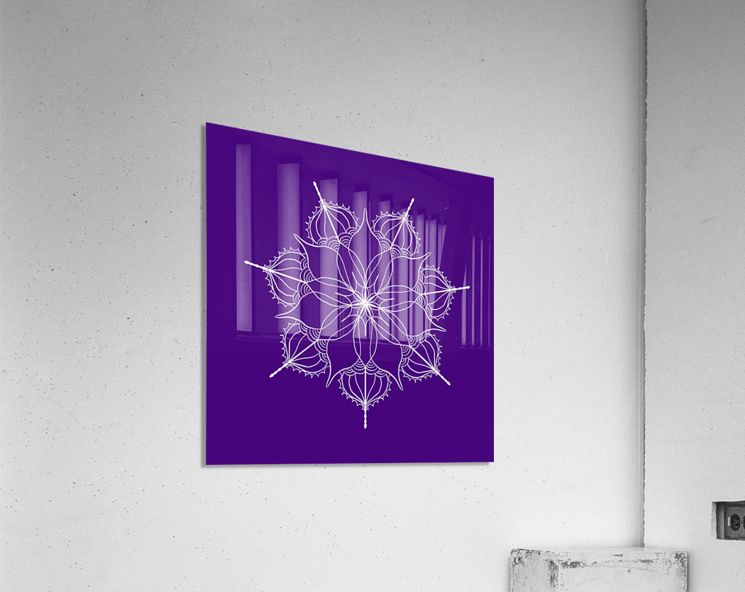 blue flower mandala  Acrylic Print