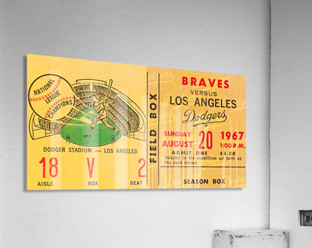 1967 LA Dodgers vs. Atlanta Braves Baseball Ticket Canvas  Acrylic Print