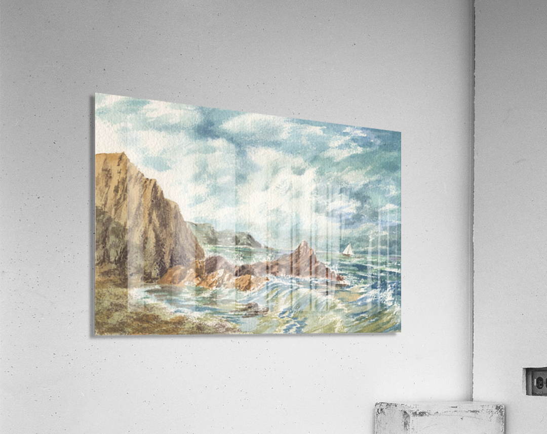 Vintage Storm At Rocky Shore  Acrylic Print