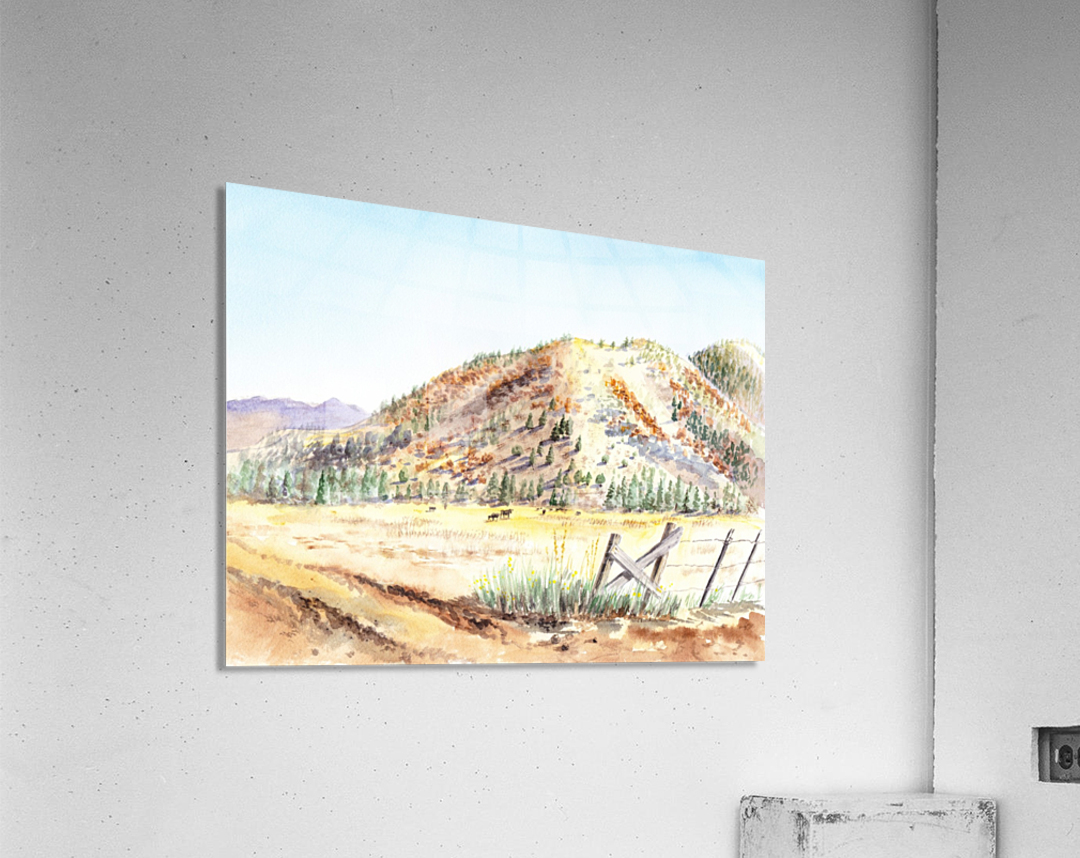 Landscape With Mountains Ranch And Cows  Acrylic Print