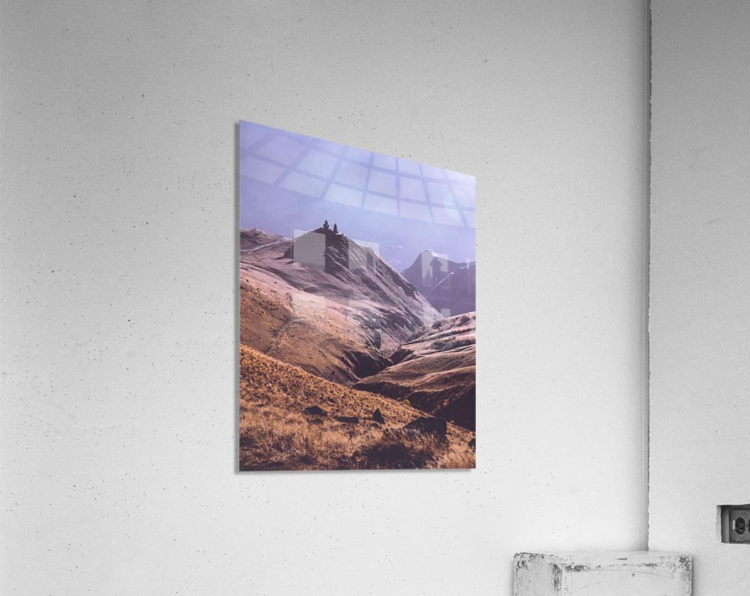 Gergeti in moring sunlight.  Acrylic Print