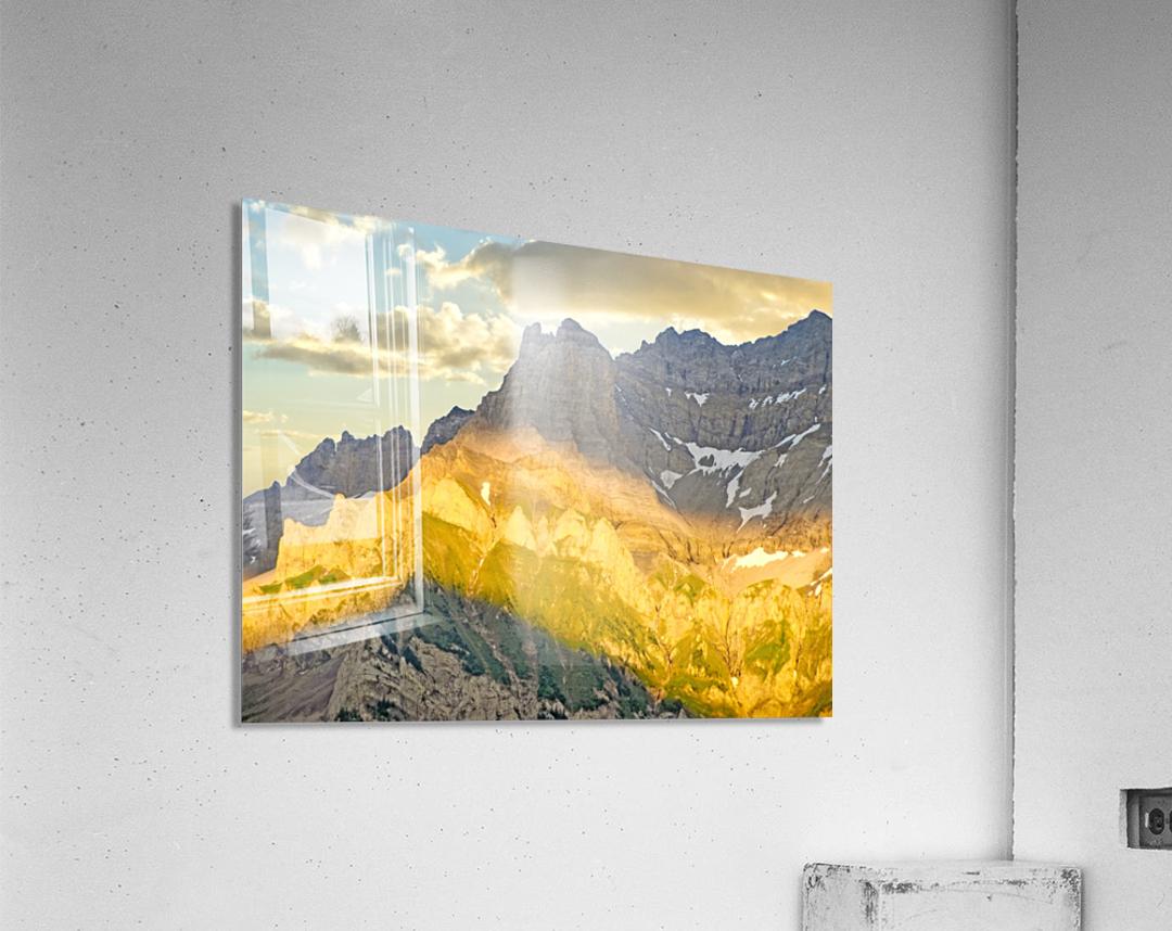 Golden Rays of the Sun Across the Swiss Alps  Acrylic Print