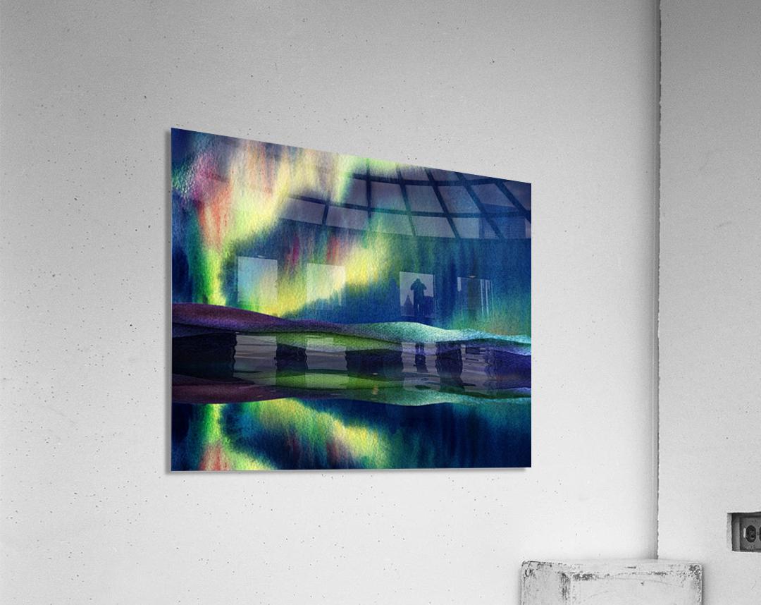 Aurora Borealis Magic Reflections Northern Lake Lights Watercolor  Acrylic Print