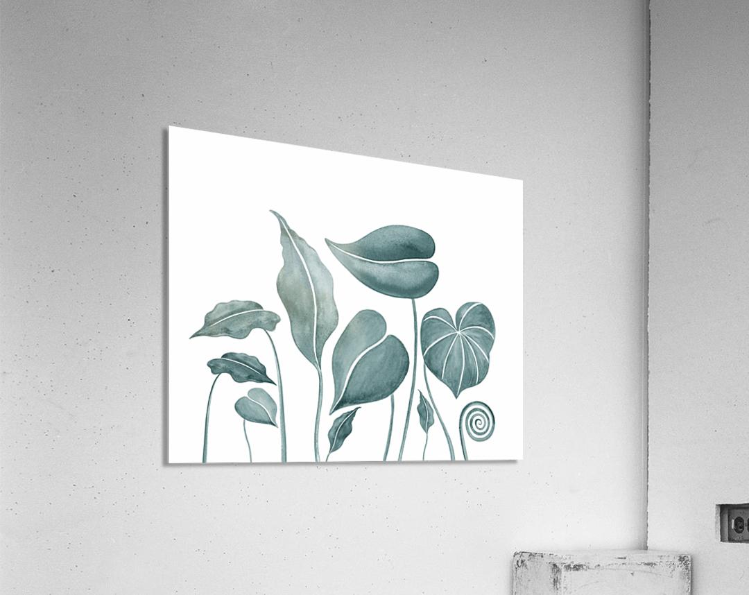 Tropical Leaves Teal Gray Botanical Foliage Watercolor   Acrylic Print