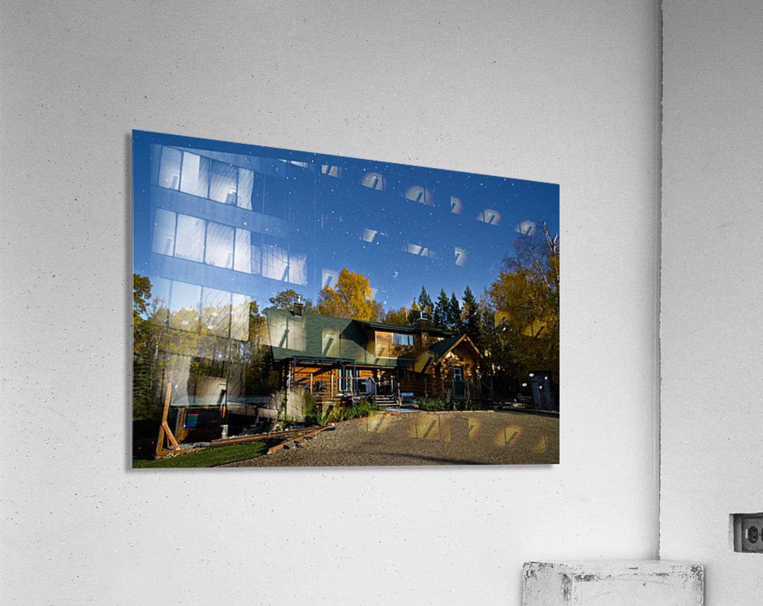 Nightscape Over Log Cabin  Acrylic Print