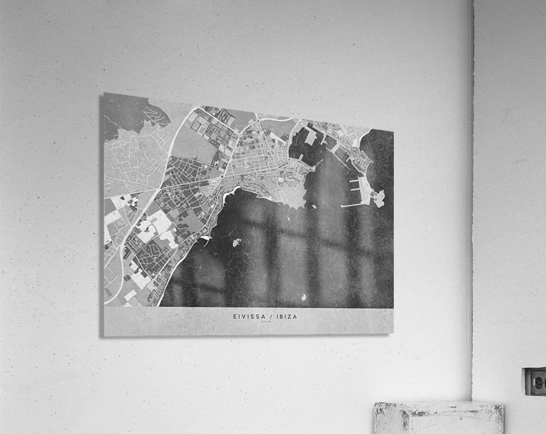 Gray vintage map of Ibiza Spain  Acrylic Print