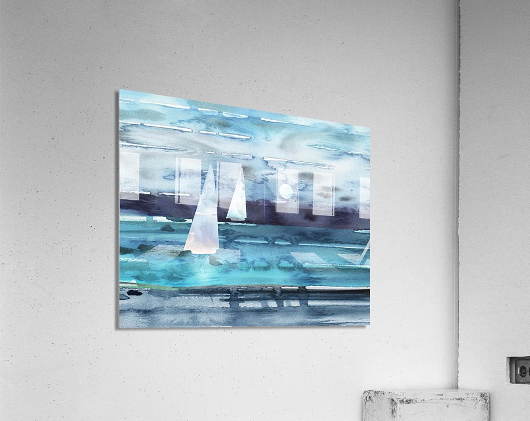 Beach House Art Sailboats At The Ocean Shore Seascape Painting XII  Acrylic Print
