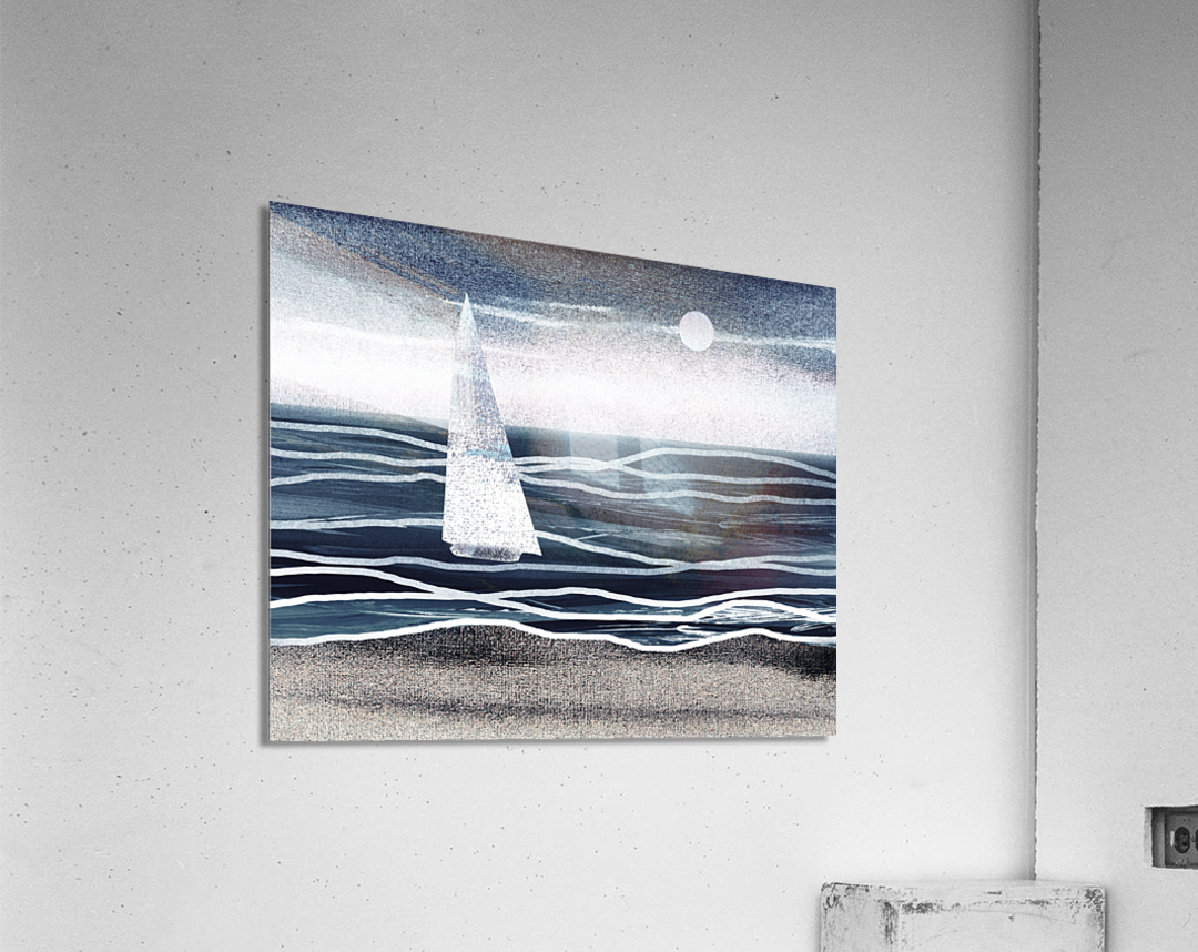 Beach House Art Sailboat At The Ocean Shore Seascape Painting XIII  Acrylic Print