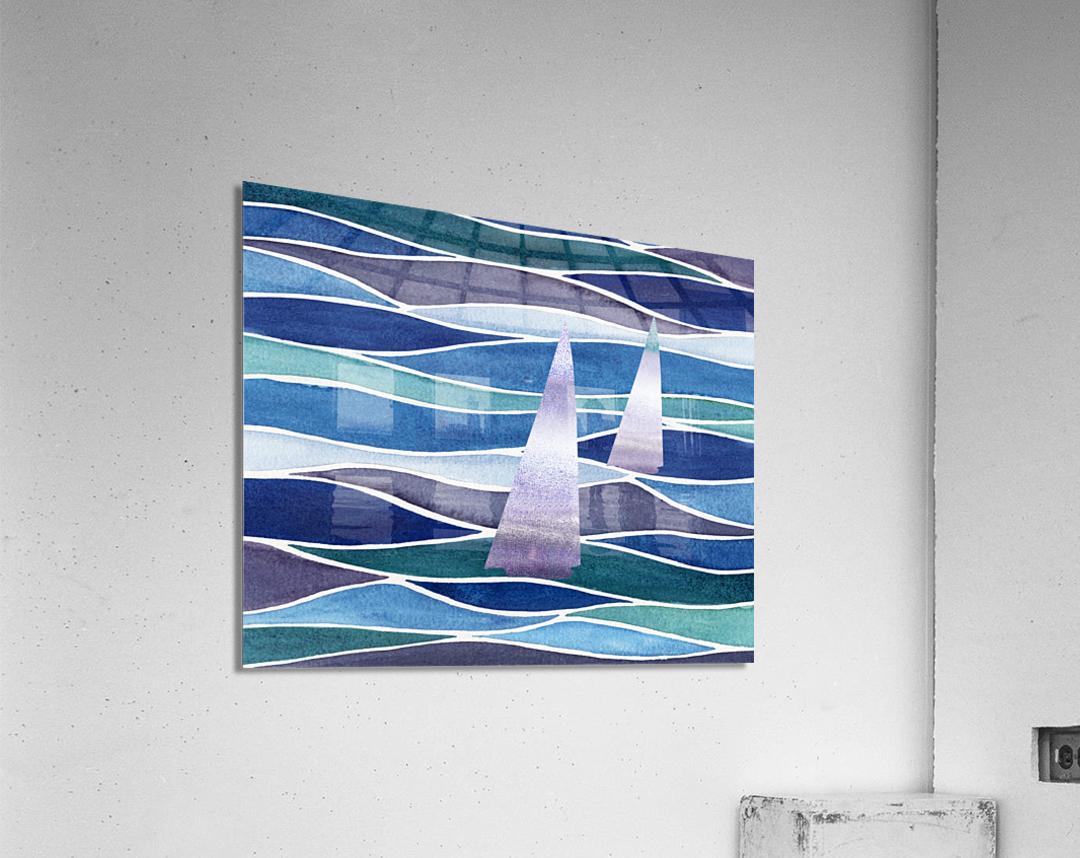 Sailboats At The Ocean Shore Seascape Painting Beach House Art Decor XIV  Acrylic Print