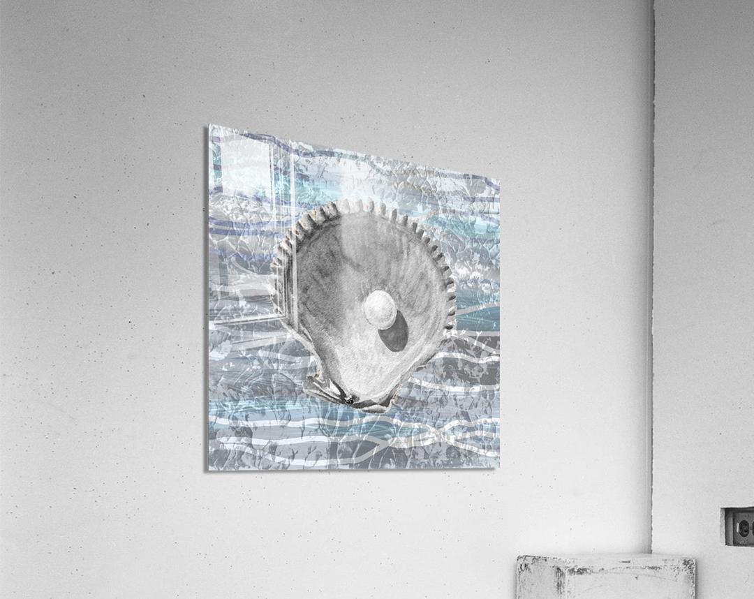 Silver Gray Seashell On Ocean Shore Waves And Rocks IV  Acrylic Print