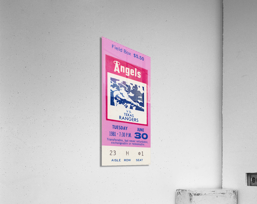 1981 California Angels vs. Texas Rangers Ticket Stub Canvas  Acrylic Print