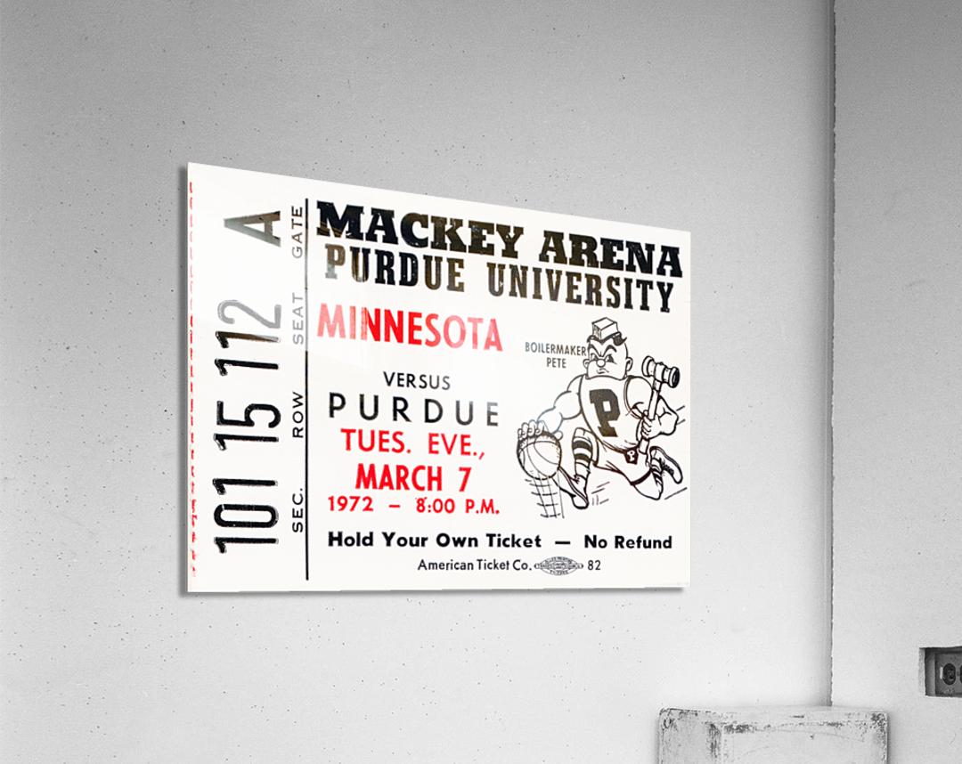 1972 Purdue Basketball Ticket Canvas  Acrylic Print