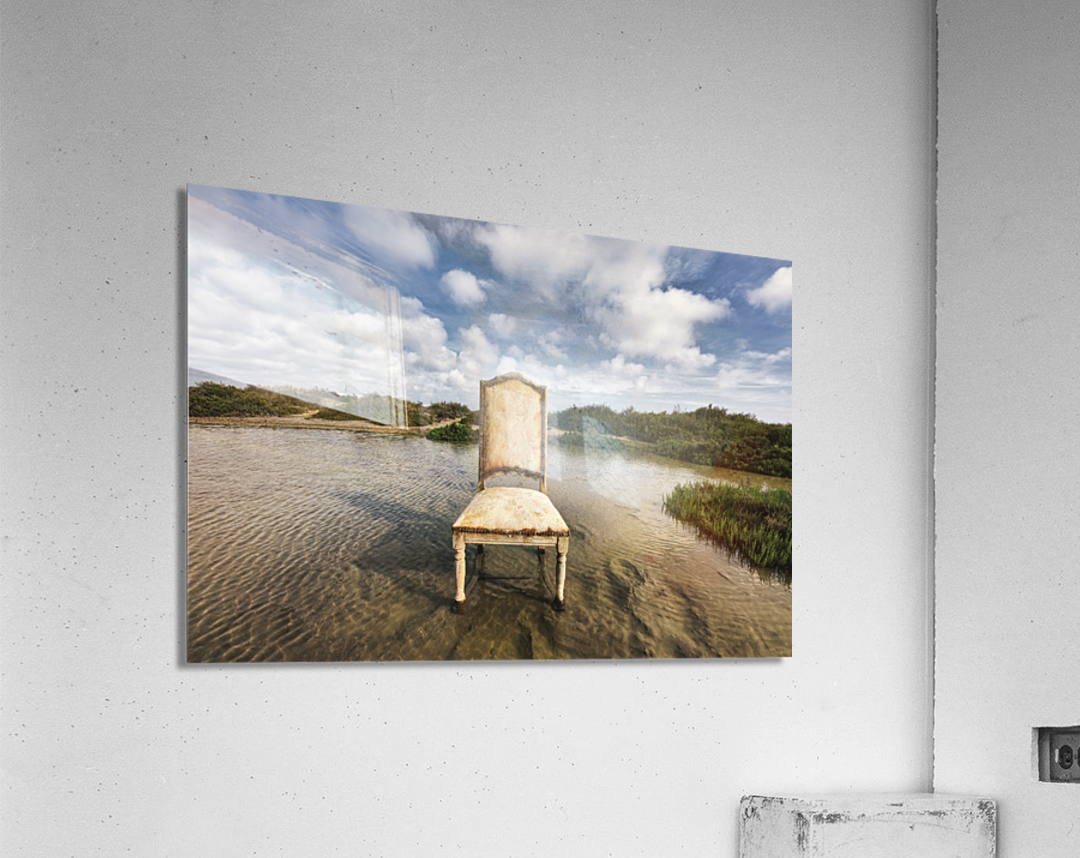 Chair in a pool of water - color version  Acrylic Print
