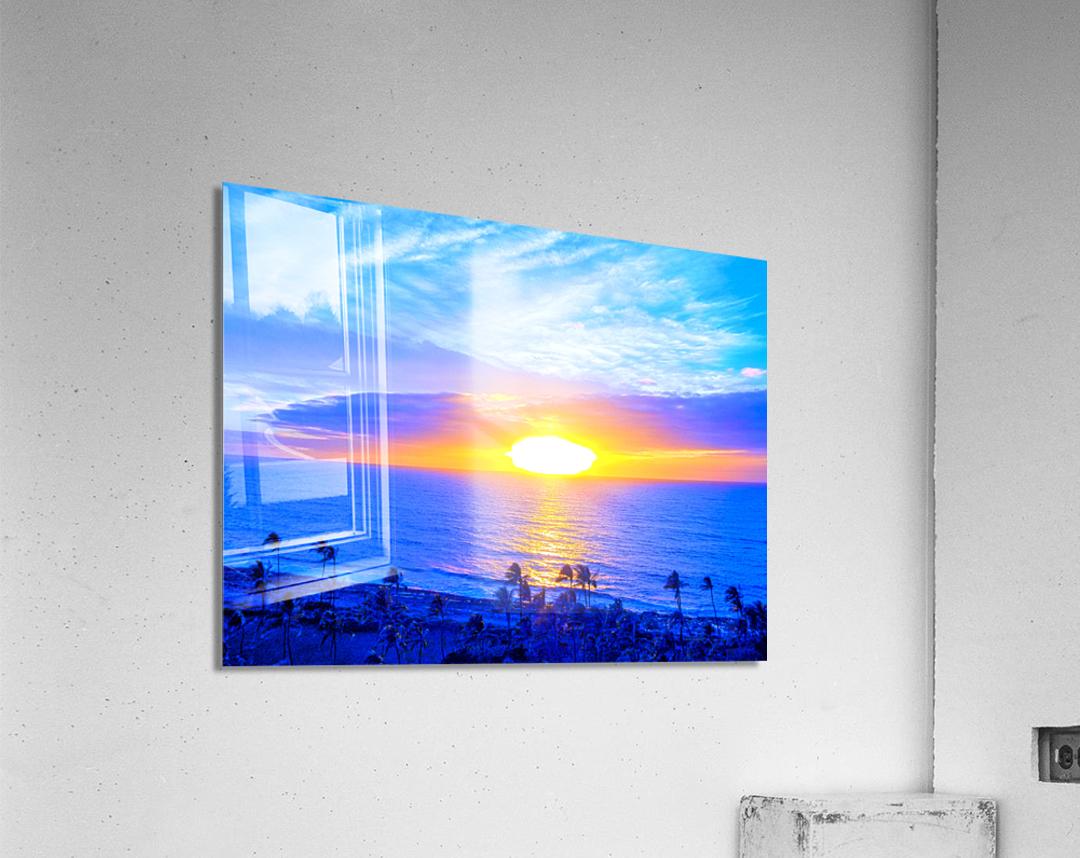 Rainbow Sunset in the Tropics   Hawaii  Acrylic Print