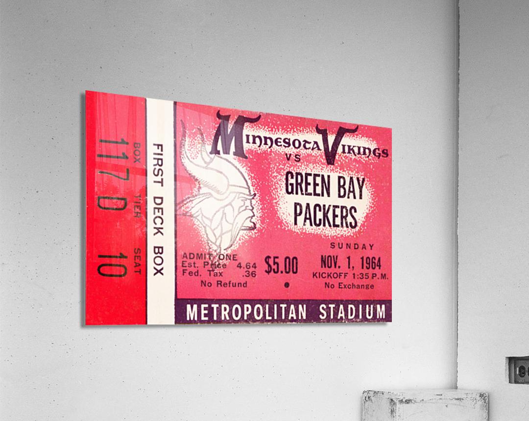 1964 Minnesota Vikings vs. Green Bay Packers Ticket Canvas  Acrylic Print