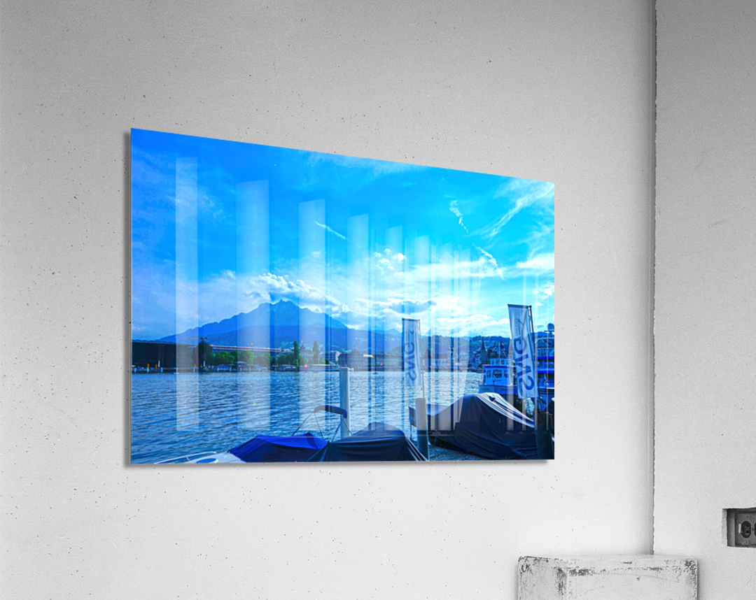 Blue Day Mount Pilatus on the Shores of Lake Lucerne   Central Swiss Alps  Acrylic Print