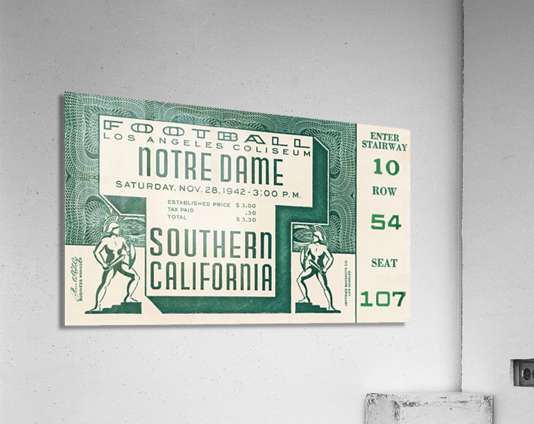 1942 USC vs. Notre Dame Football Ticket Canvas  Acrylic Print