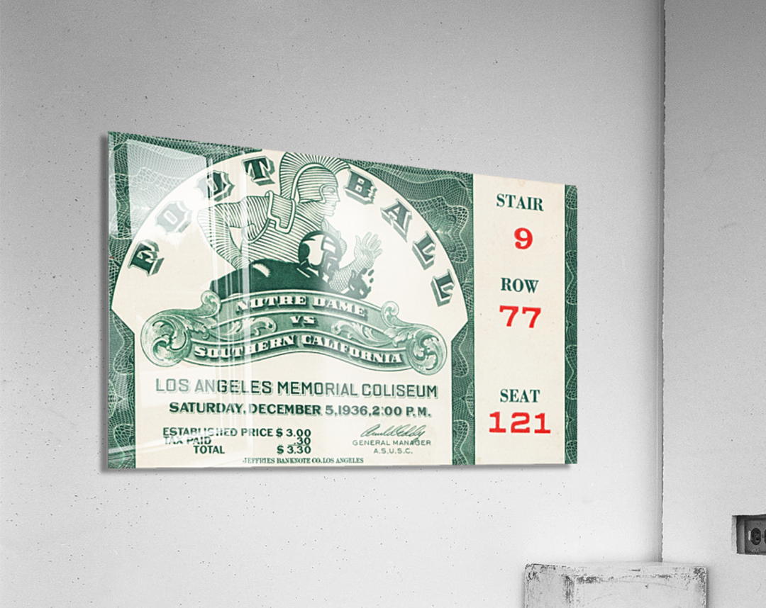 1936 Notre Dame vs. USC Football Ticket Art  Acrylic Print