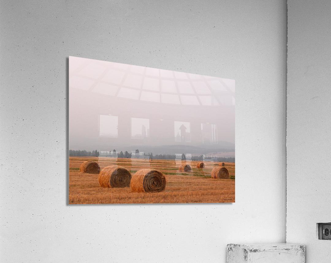 Haybales in a Haze  Acrylic Print