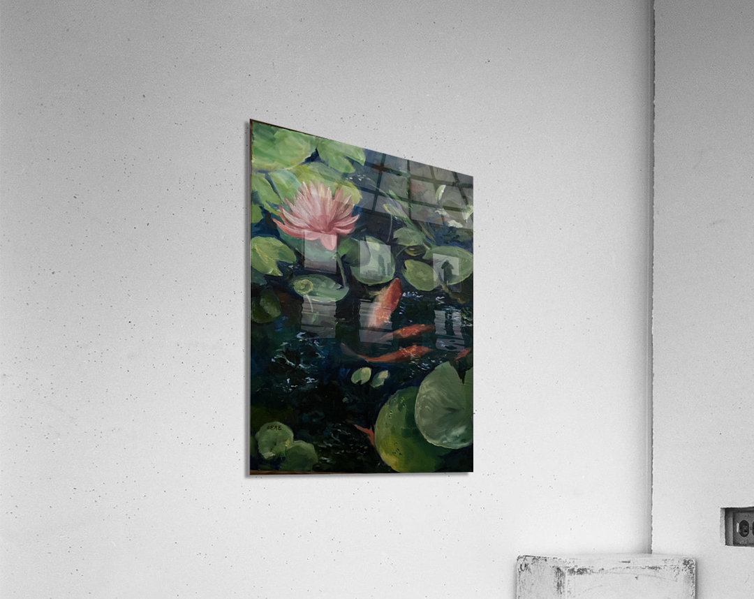 Koi with water lily   Acrylic Print