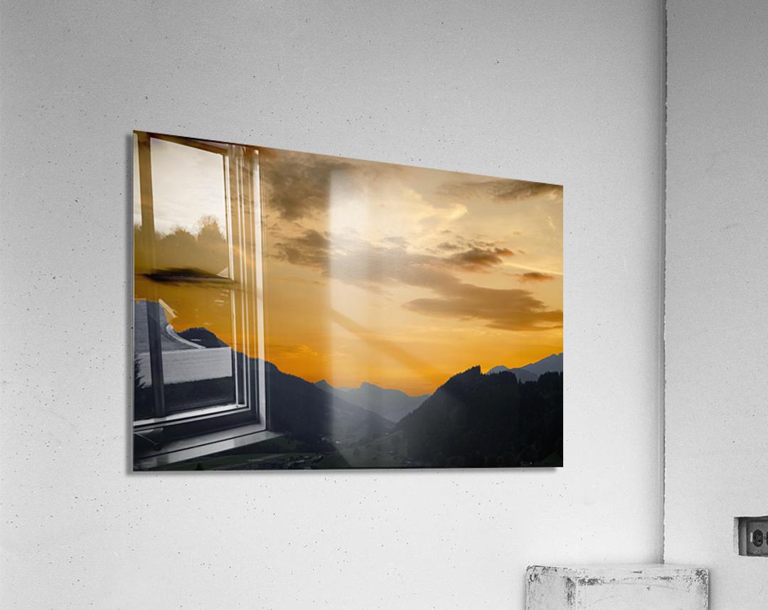 Sunset in the Saanen Valley in Switzerland  Acrylic Print