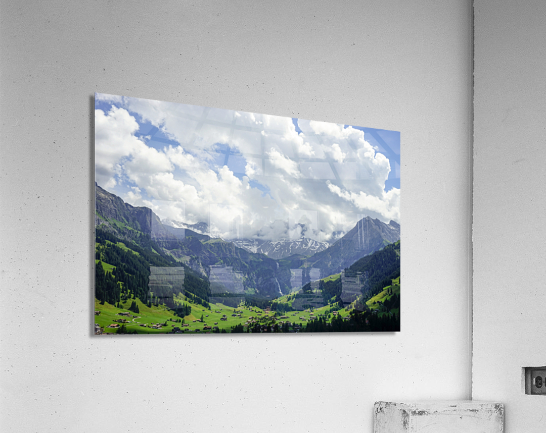 Beautiful Day in the Valley and Mountains of Adelboden Switzerland  Acrylic Print