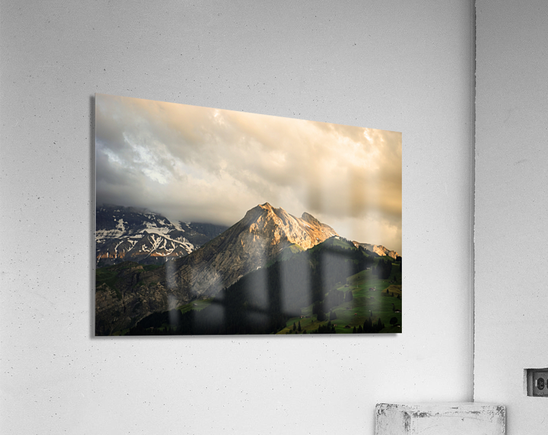 Mountain Bathed in the Golden Rays of the Sun at Sunset in Switzerland 1 of 3  Acrylic Print