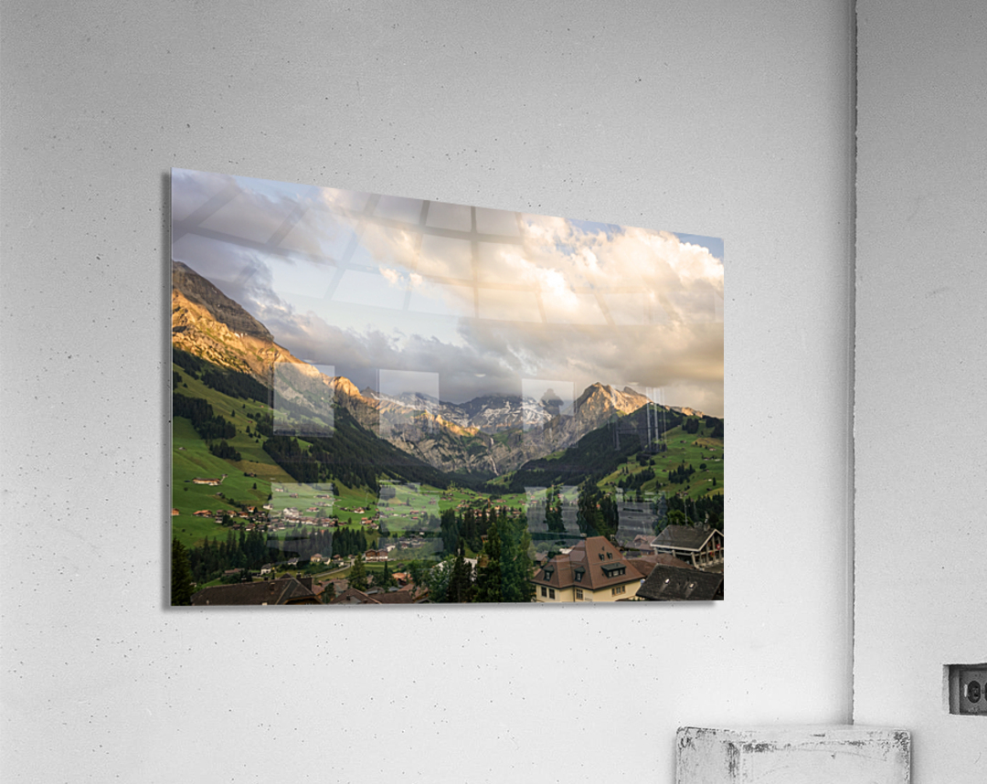 Golden Rays of the Sun Across the Mountains at Sunset in Switzerland 2 of 2  Acrylic Print