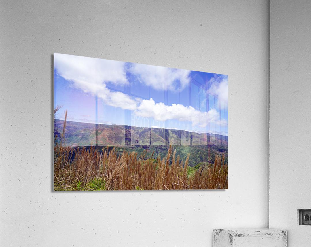 Beautiful View to Distant Waipoo Falls in Waimea Canyon on the Island of Kauai  Acrylic Print