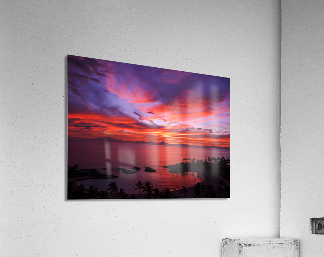 Euphoria Before Bliss - 2013 ARTWORK OF THE YEAR WINNER - Pink and Orange Kissed Skies over Hawaii at Sunset  Acrylic Print