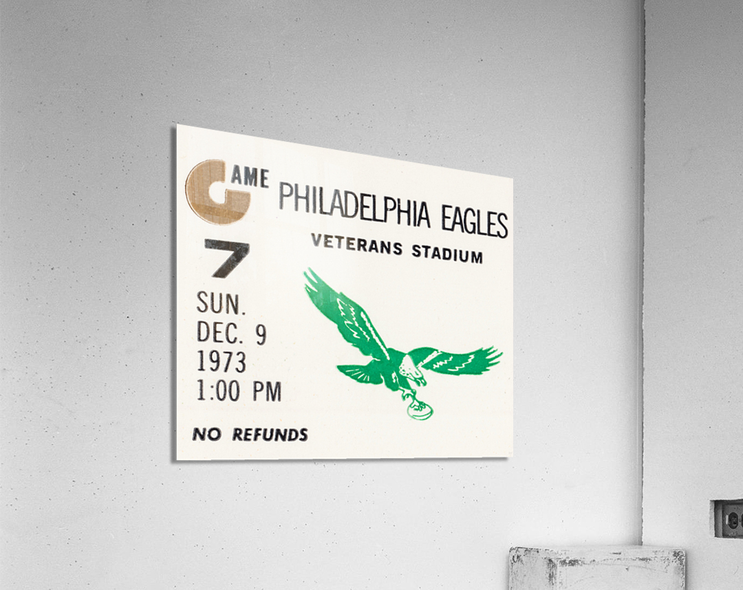 1973 Philadelphia Eagles Ticket Stub Remix Art  Acrylic Print