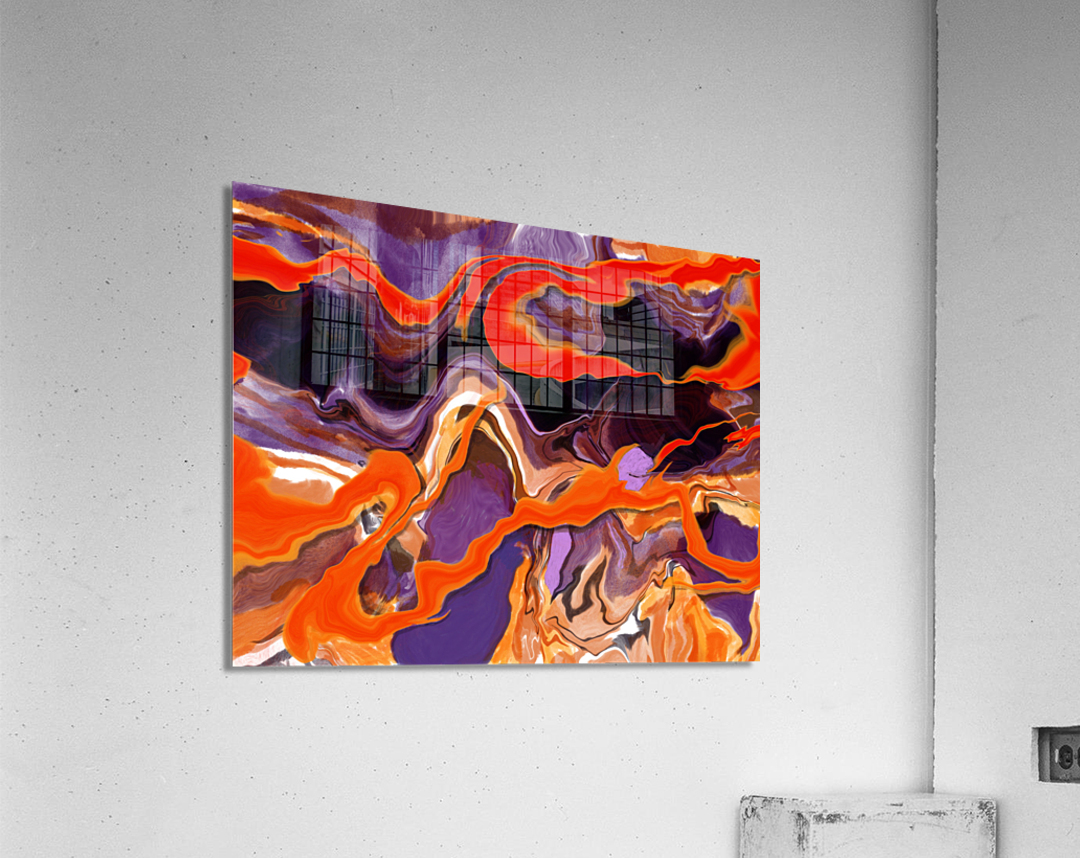 Flaming Paint Pour  Acrylic Print