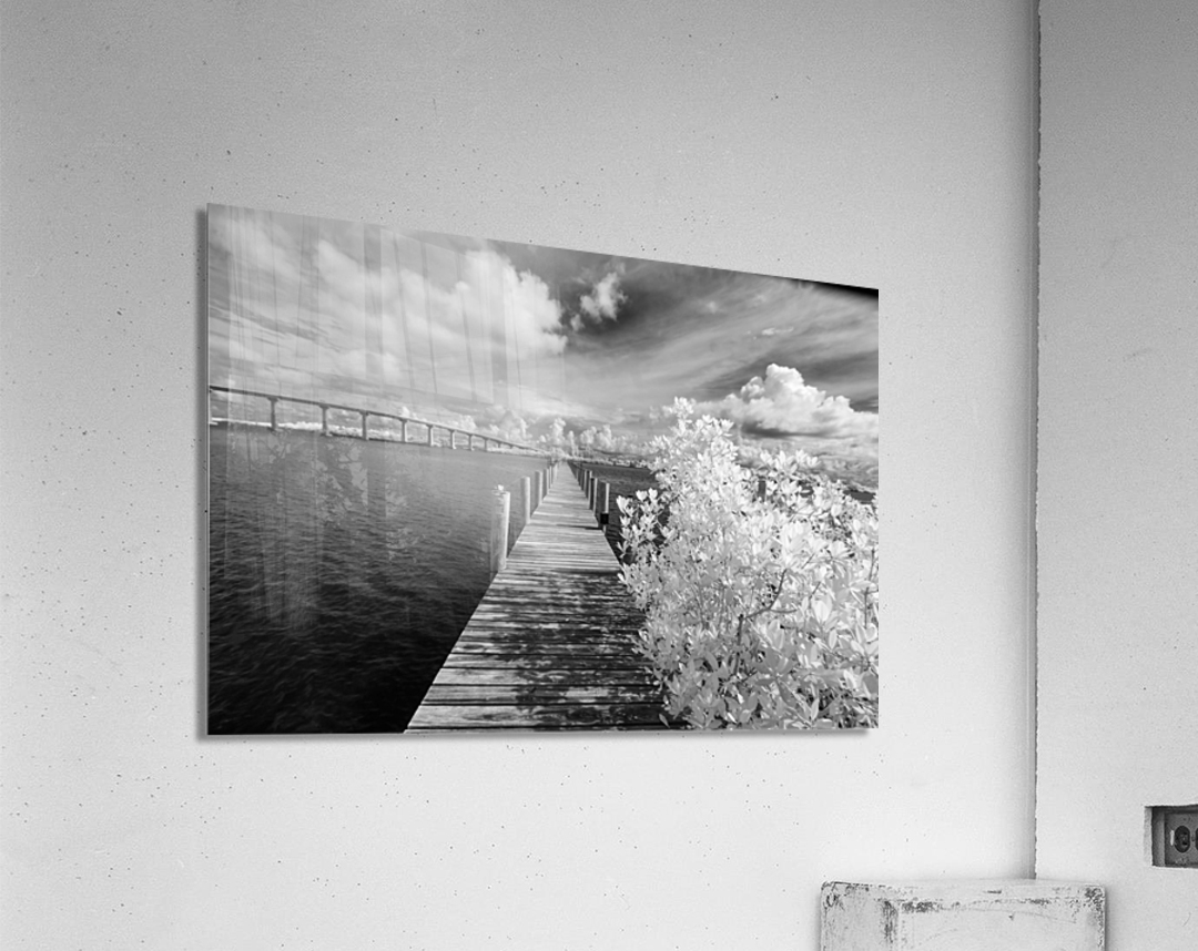 Wabasso Causeway Florida with boat dock  Acrylic Print