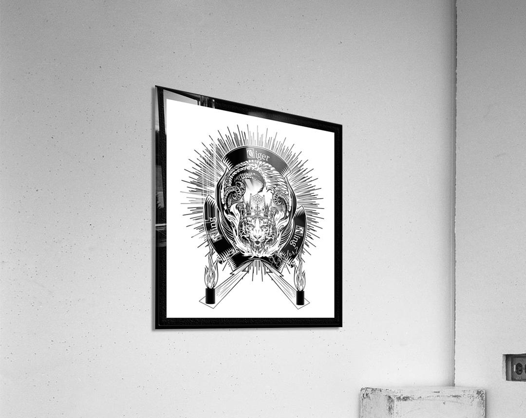 White Tiger King Tiger Art Emblem by Xzendor7  Acrylic Print