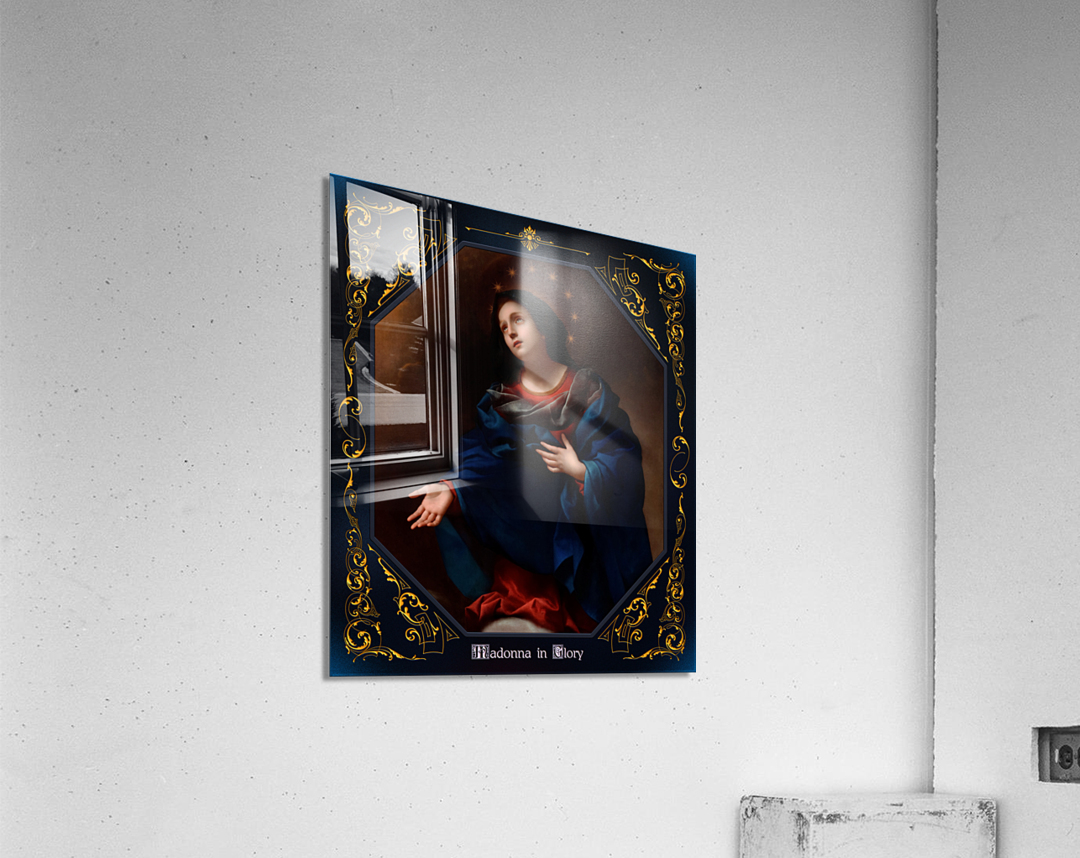 Madonna in Glory by Carlo Dolci Blue Gold Border Xzendor7 Old Master Art Reproductions  Acrylic Print