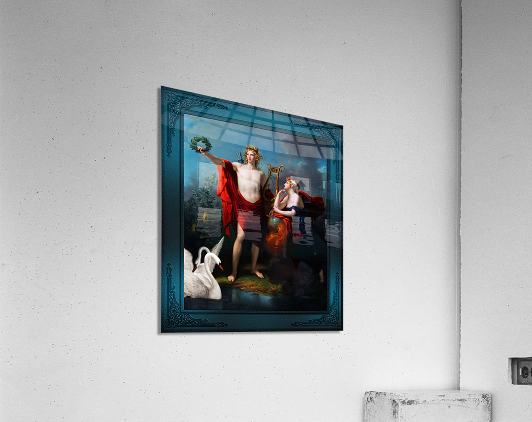 Apollo God of Light with Urania Muse of Astronomy by Charles Meynier Classical Fine Art Xzendor7 Old Masters Reproductions  Acrylic Print