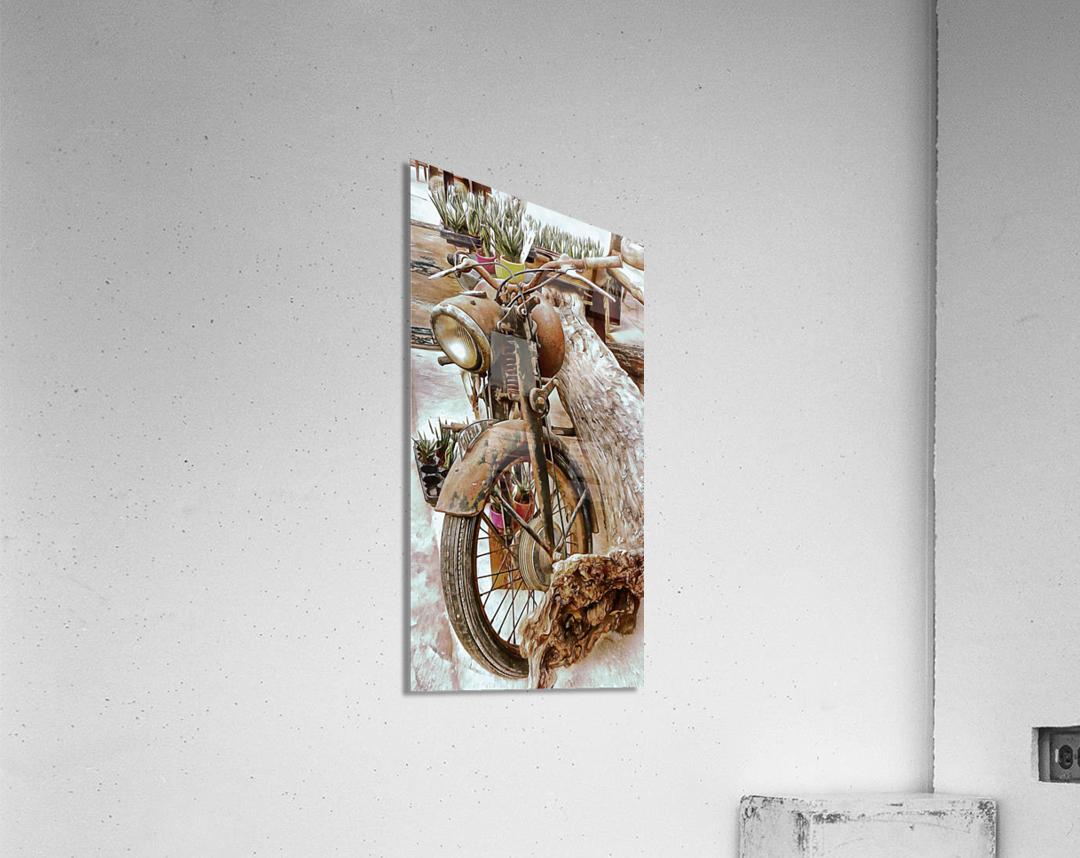 Old Rusty Motorbike Against Tree Stump  Acrylic Print