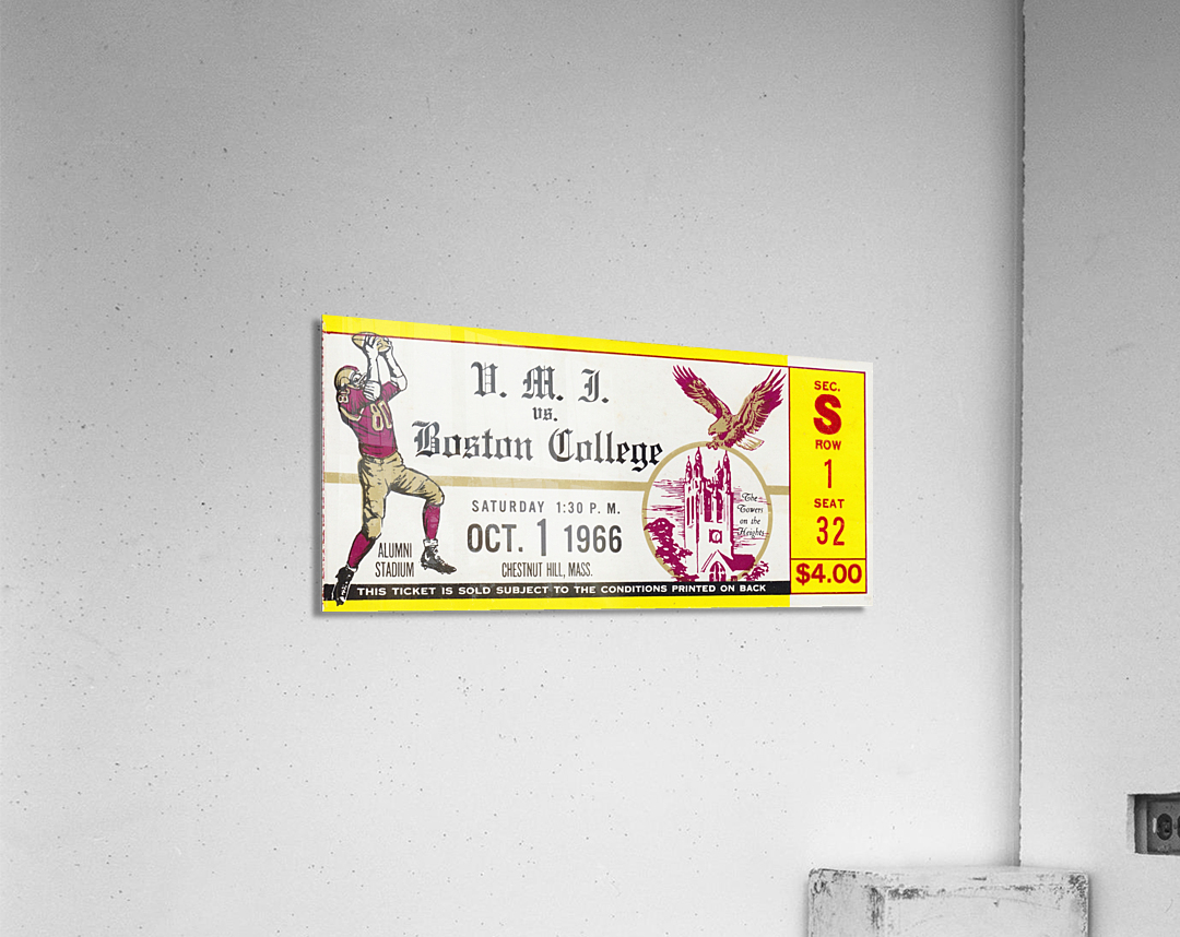1966 VMI vs. Boston College Eagles Football Ticket Stub Art  Acrylic Print