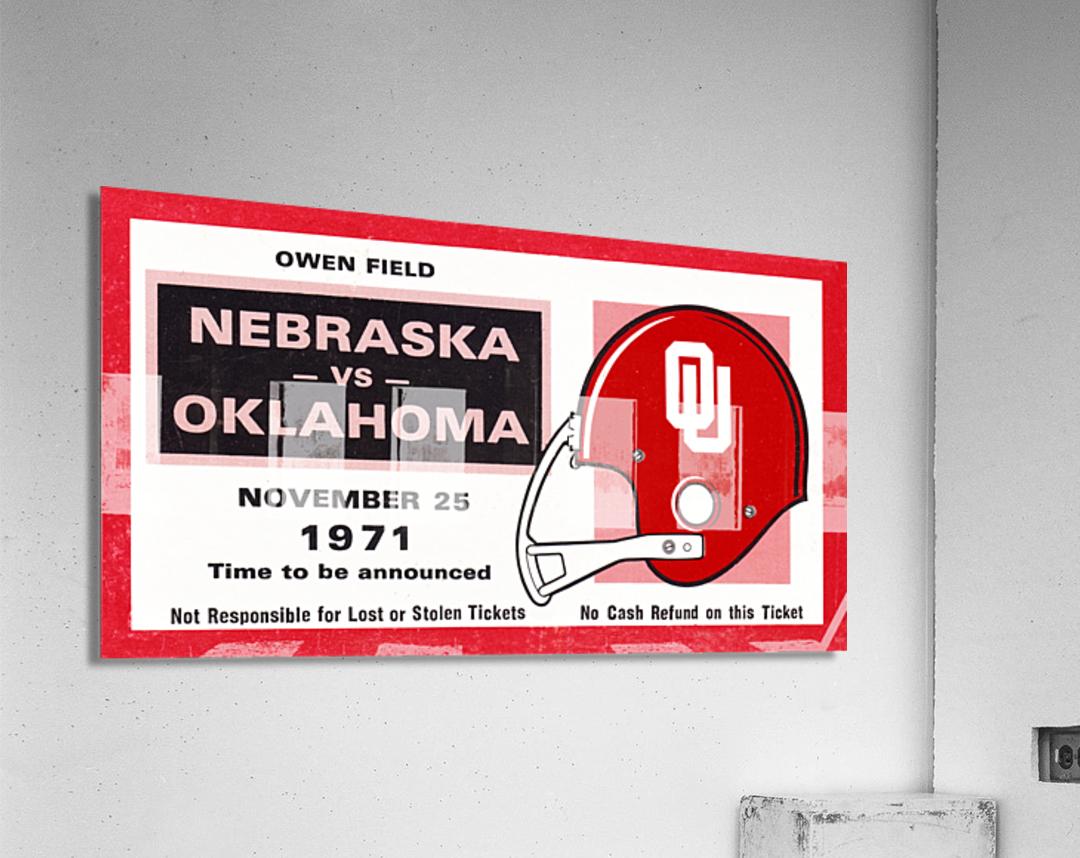 1971 Oklahoma Nebraska Game of the Century Ticket Stub Remix Canvas Art  Acrylic Print
